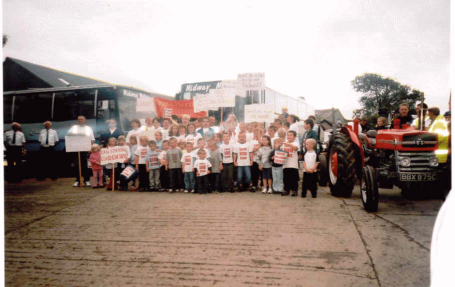 Hermon school campaign marchers meet up with the tractors at Eglwyswrw
